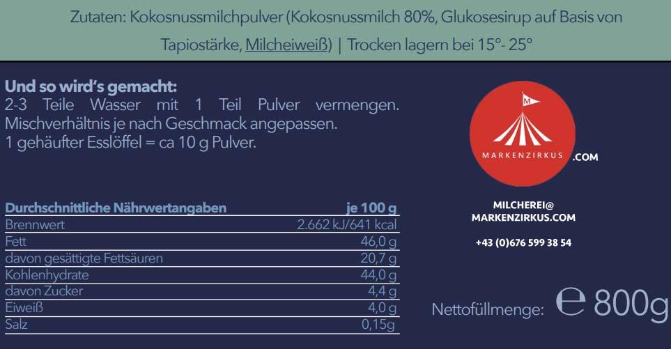 MILCHEREI Kokosnuss Milchpulver Produktinformationen