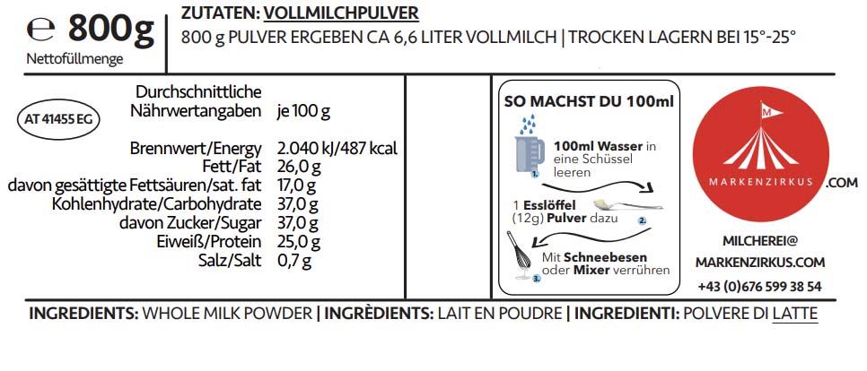 MILCHEREI Milchpulver Produktbeschreibung