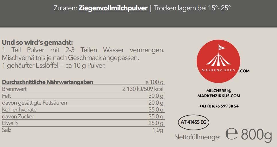 MILCHEREI Ziegen Voll Milchpulver Produktinformationen