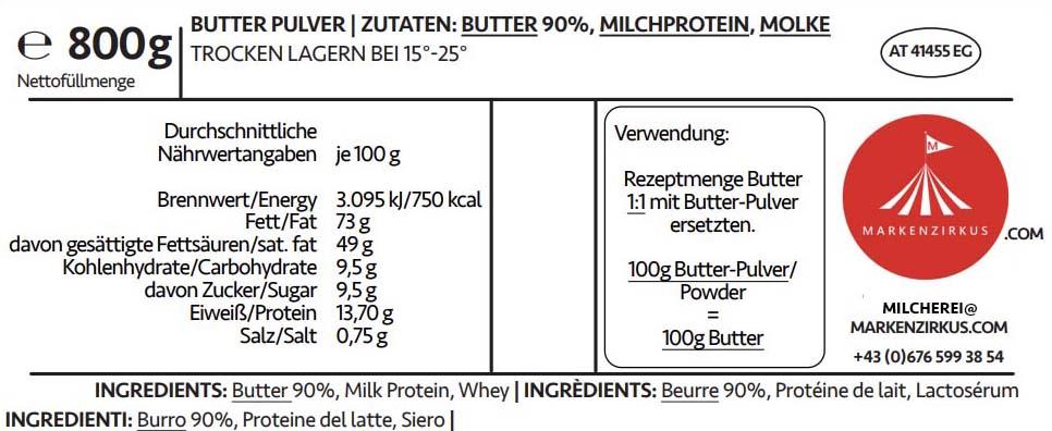 Eierei Butterpulver Produktinformationen