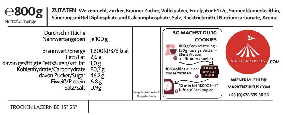WIENER MÜHLE Cookies Produktinformationen