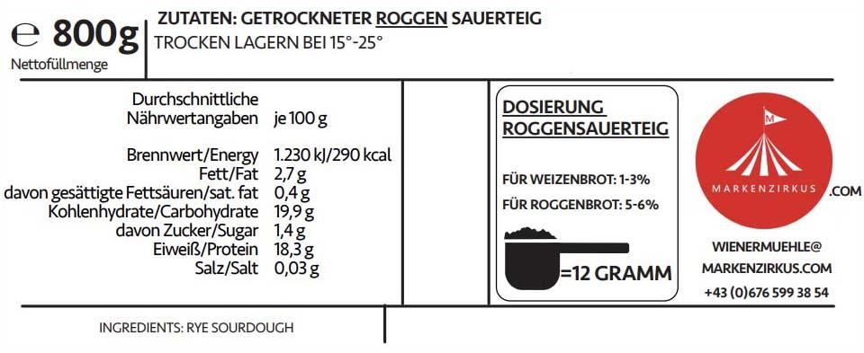 WIENER MÜHLE Roggensauerteig Produktinformationen