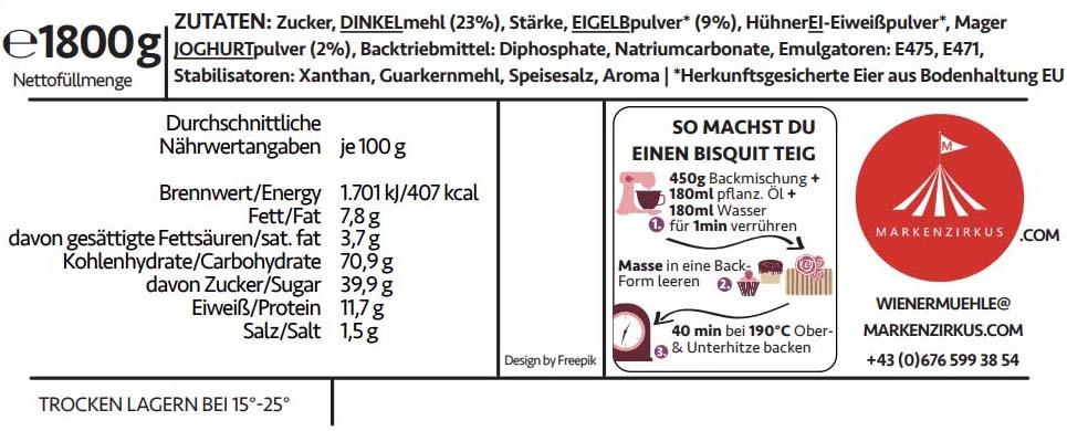 Wiener Mühle Bisquitteig Produktinformationen