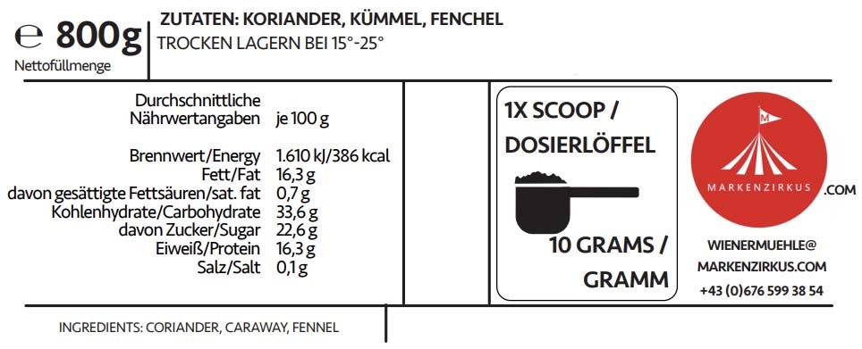Wiener Mühle Brotgewürz Produktinformationen