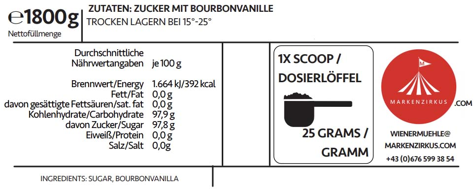 Wiener Mühle Vanille Zucker Produktinformationen