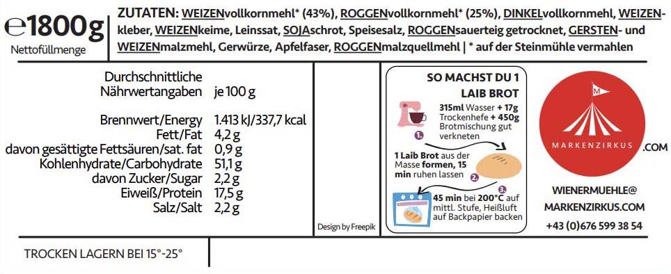Wiener Mühle Vollkornbrot Produktinformationen