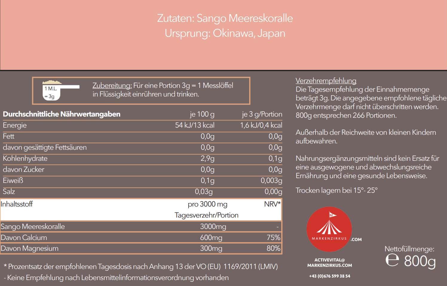 Activevital Sango Meereskoralle Pulver Produktinformationen