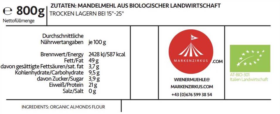 Wiener Muehle Mandelmehl Bio Produktinformationen