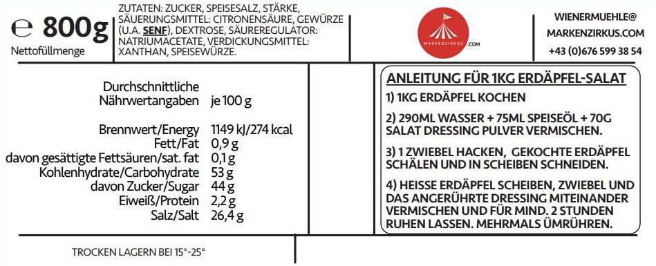 Wiener Muehle Wiener Kartoffelsalat Dressing Produktinformation