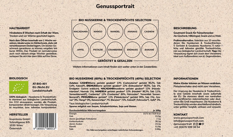 Genussportrait Bio Nüsse Trockenfrüchte Selection - Produktinformationen 8w